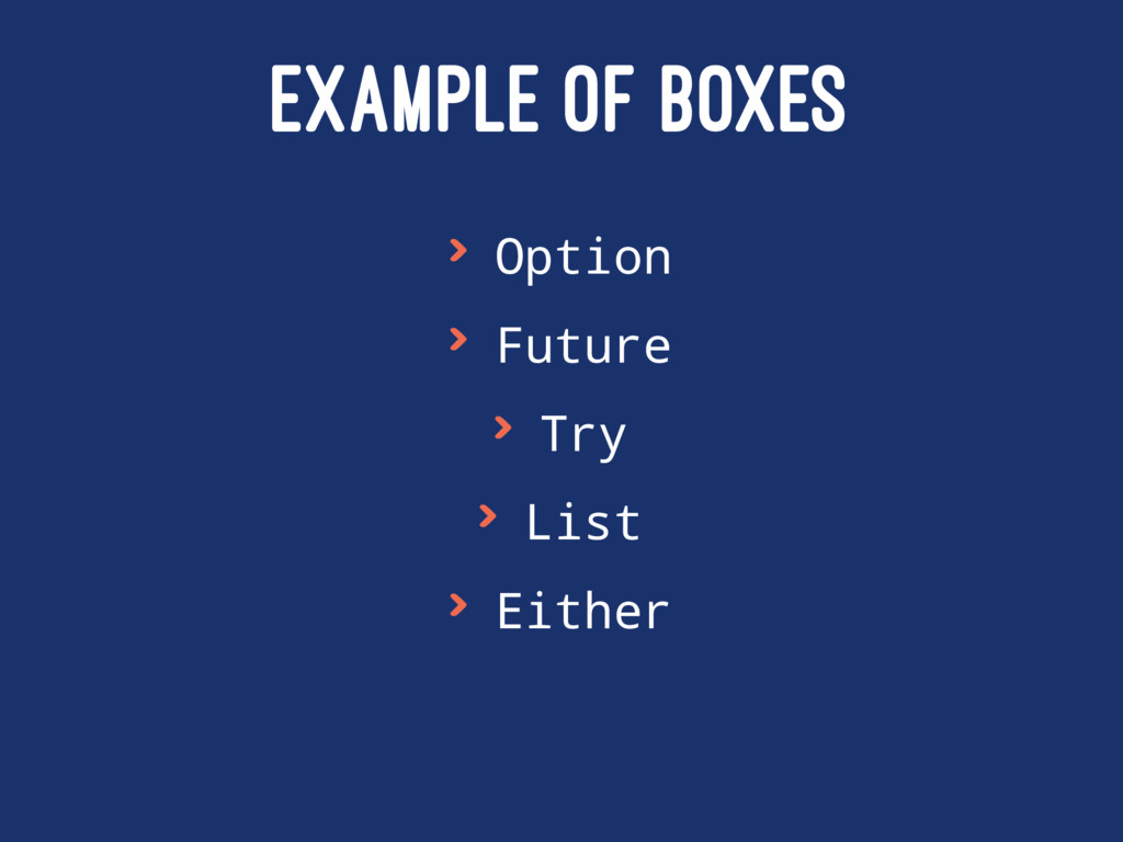 EXAMPLE OF BOXES > Option > Future > Try > List...