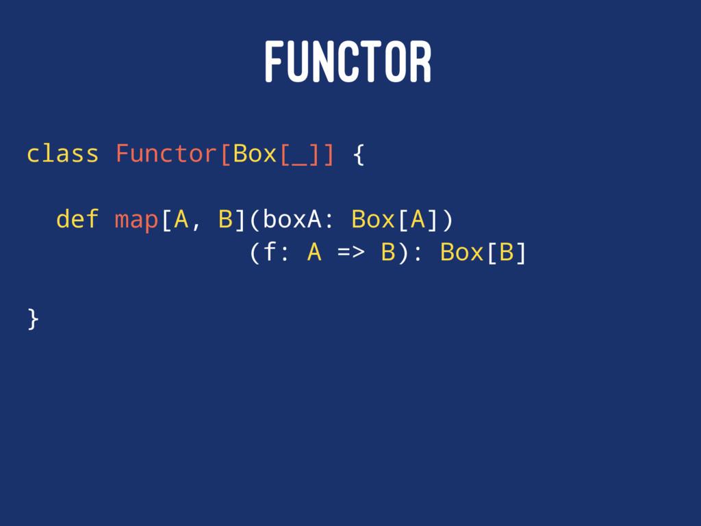 FUNCTOR class Functor[Box[_]] { def map[A, B](b...