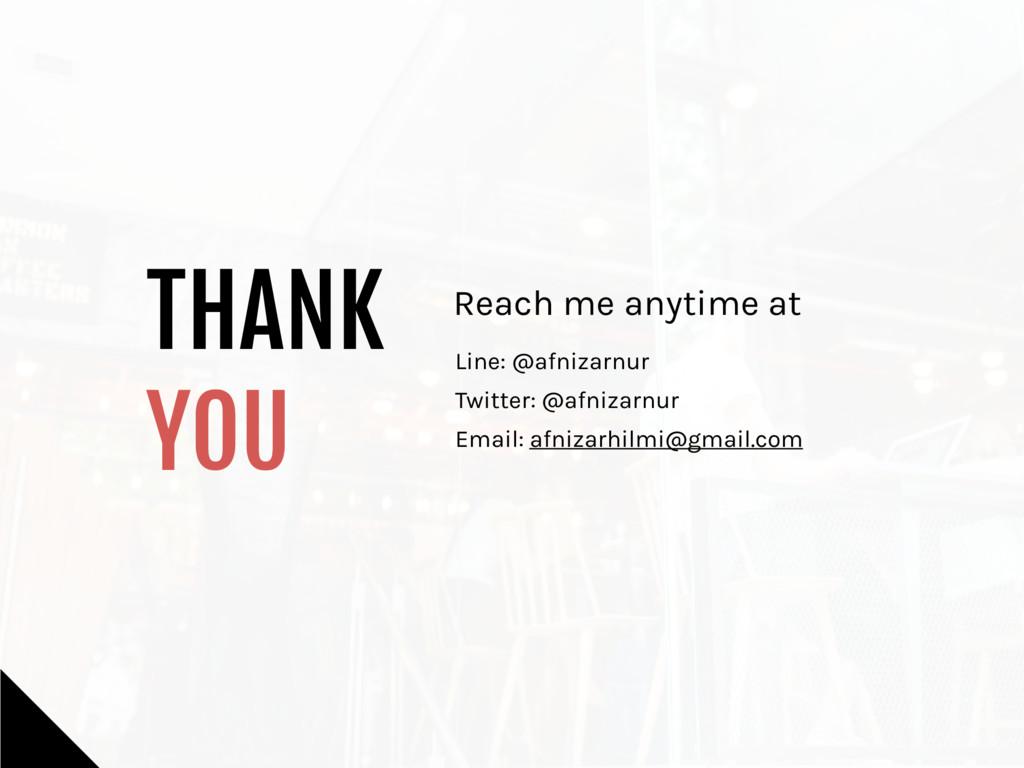 THANK   YOU Reach me anytime at Line: @afnizarn...