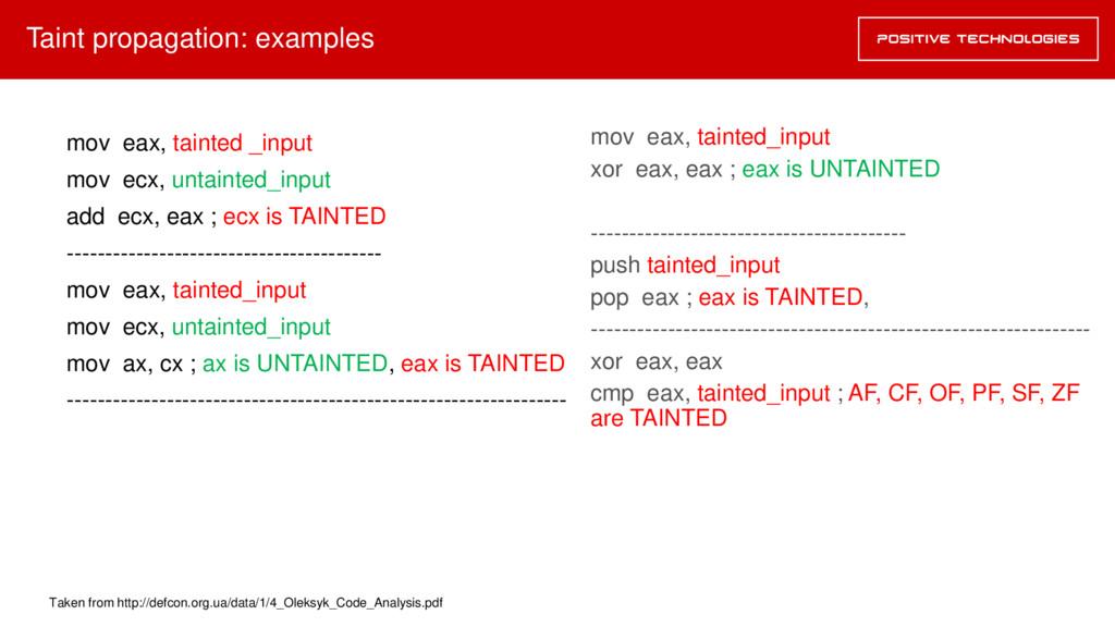 mov eax, tainted_input xor eax, eax ; eax is UN...