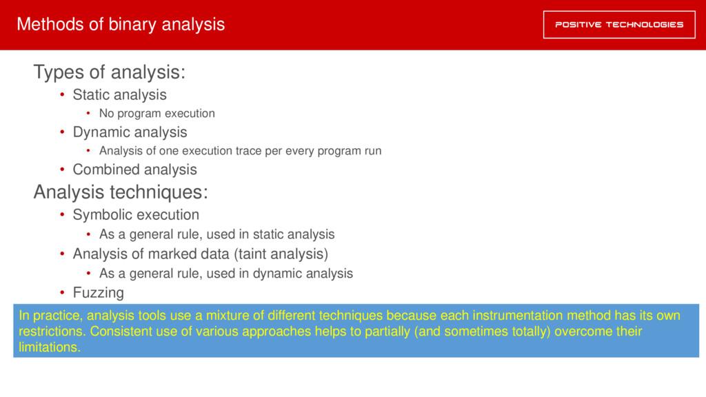 Types of analysis: • Static analysis • No progr...