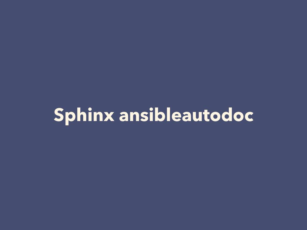 Sphinx ansibleautodoc
