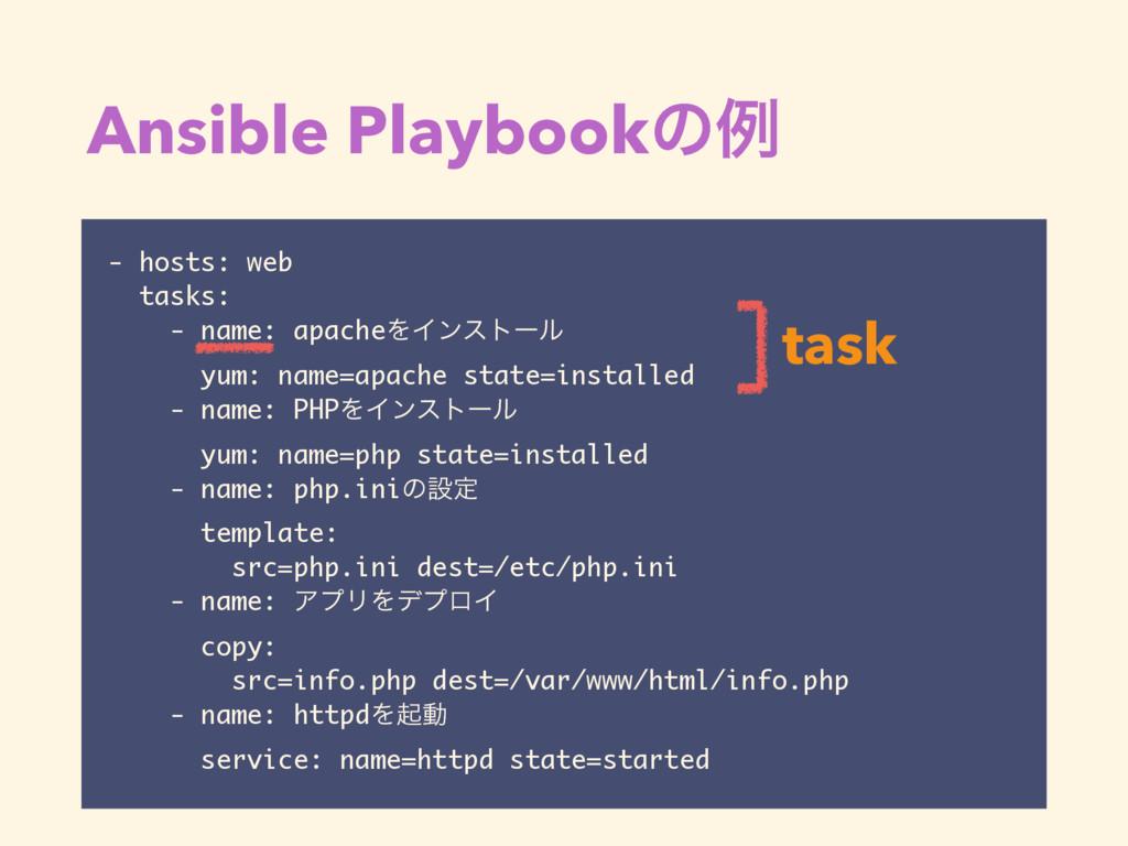 Ansible Playbookͷྫ - hosts: web tasks: - name: ...