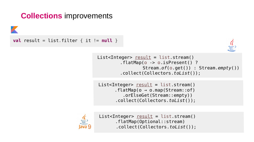 Collections improvements List<Integer> result =...
