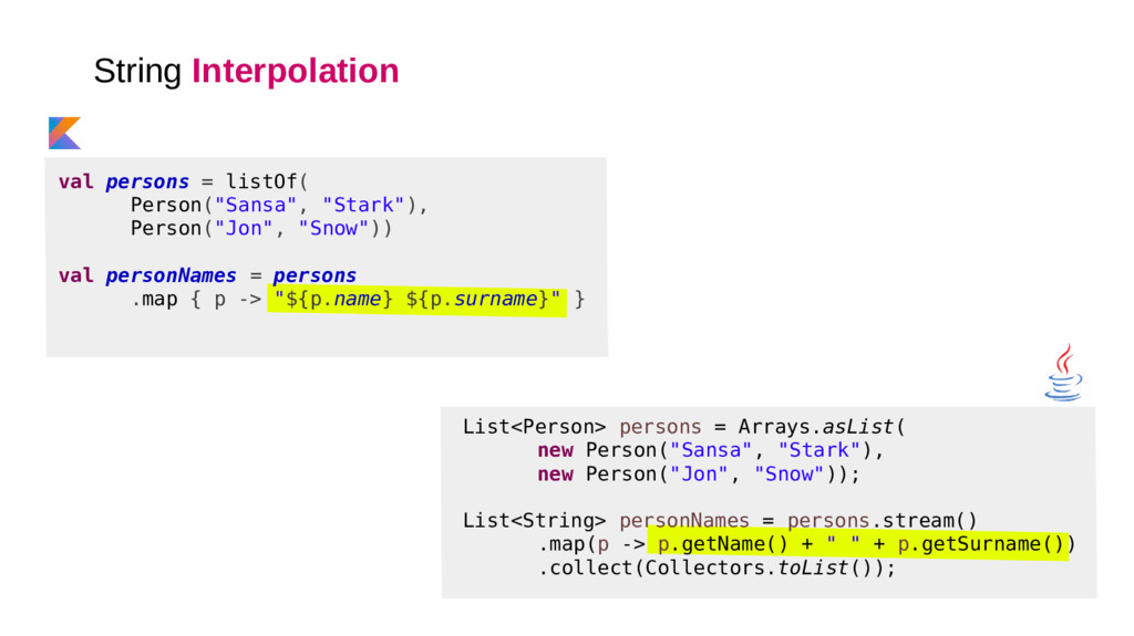 String Interpolation List<Person> persons = Arr...