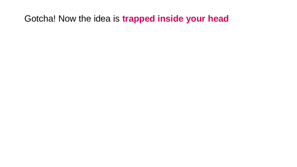 Gotcha! Now the idea is trapped inside your head