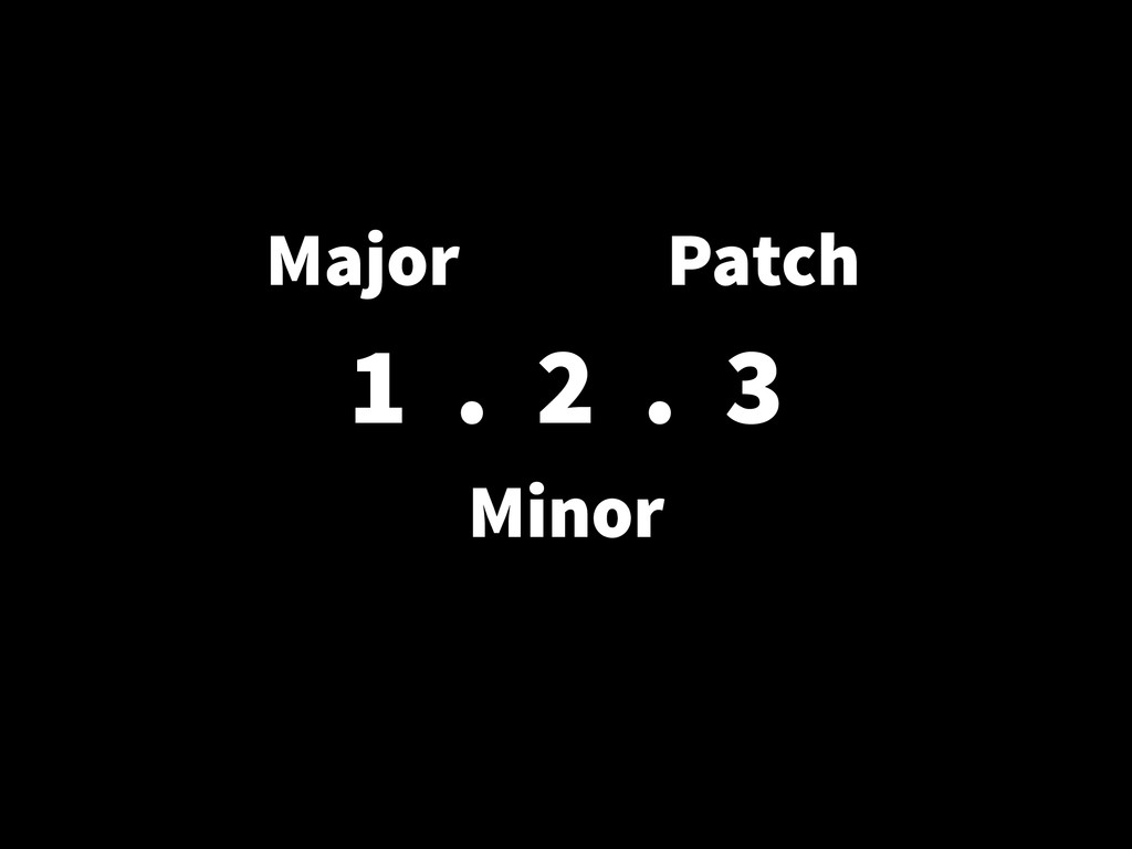 1 . 2 . 3 Major Minor Patch