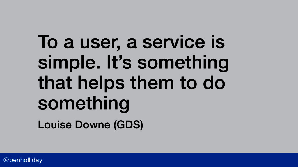 @benholliday To a user, a service is simple. It...