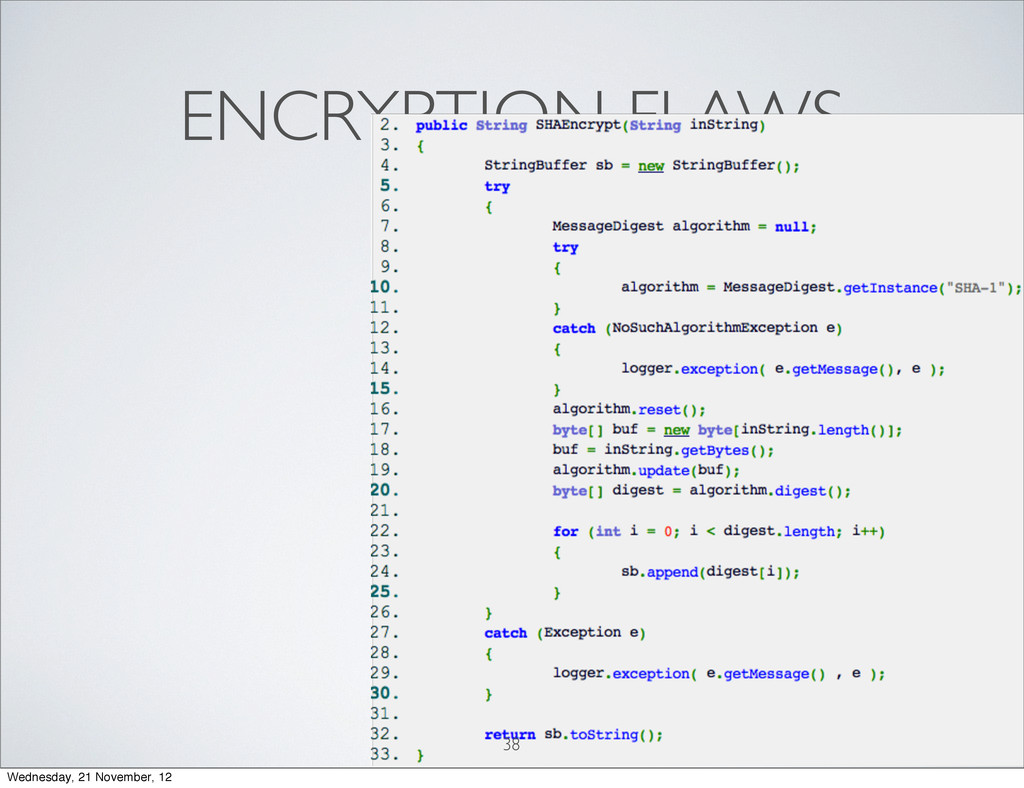 Softwar S cur ENCRYPTION FLAWS 38 Wednesday, 21...