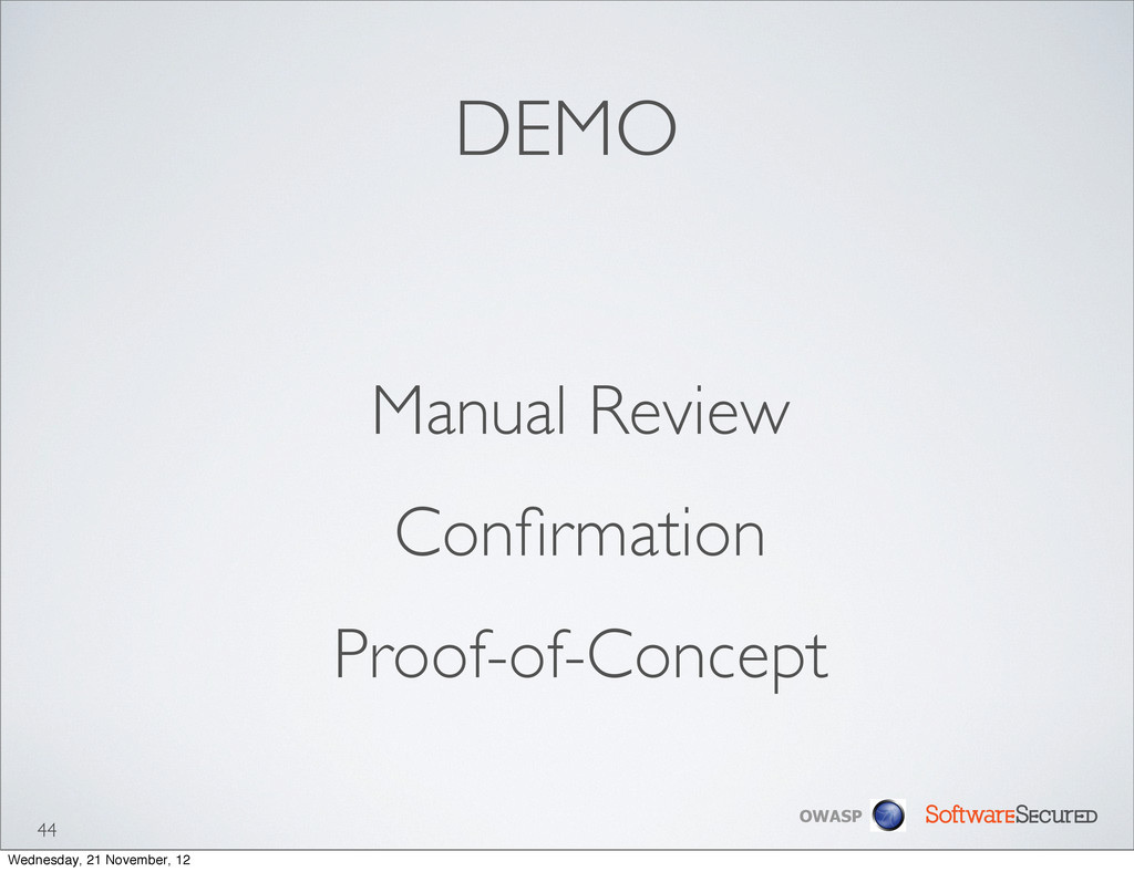 Softwar S cur OWASP DEMO Manual Review Confirmat...