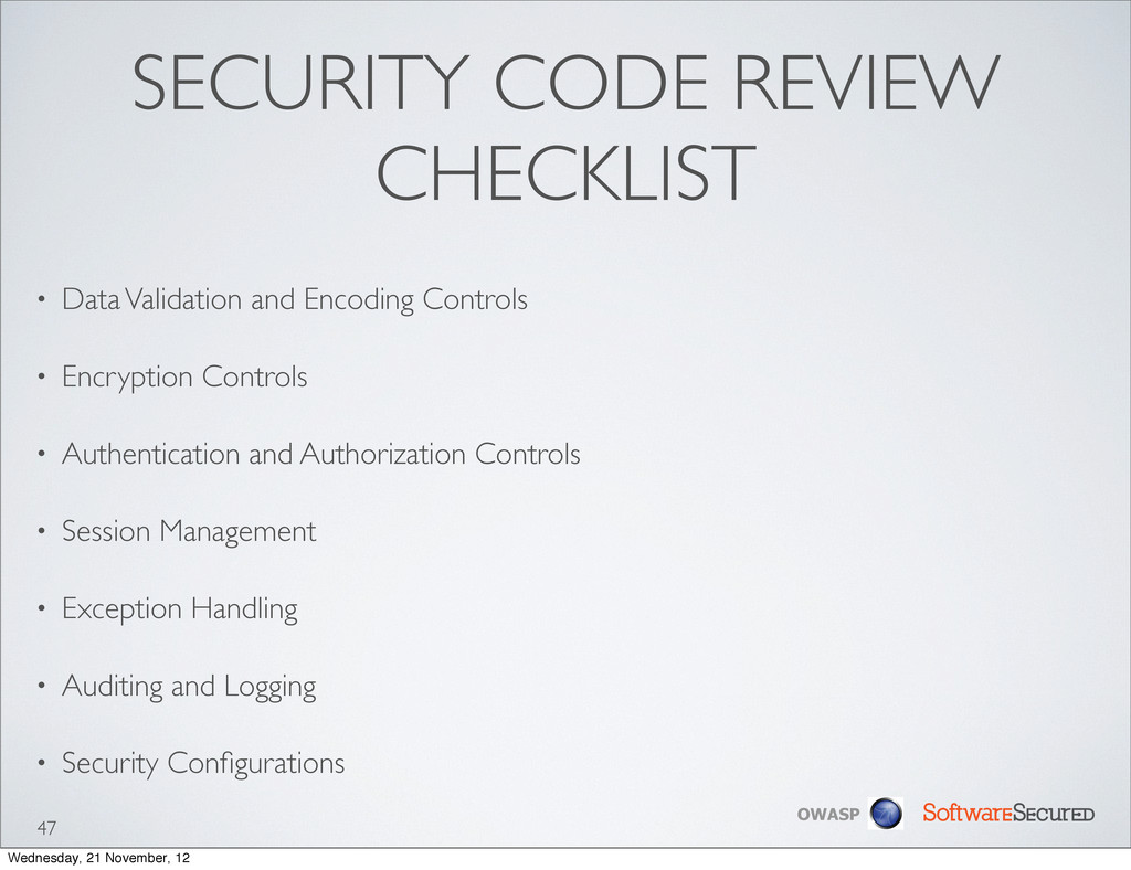Softwar S cur OWASP SECURITY CODE REVIEW CHECKL...