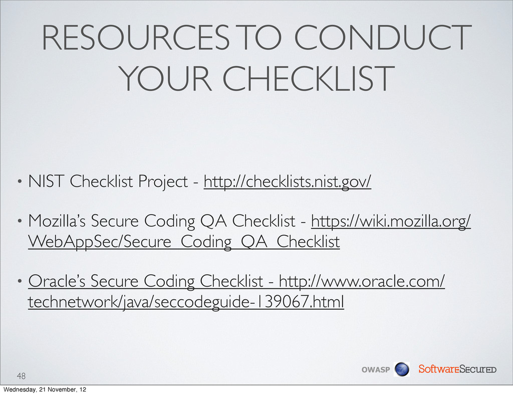 Softwar S cur OWASP RESOURCES TO CONDUCT YOUR C...
