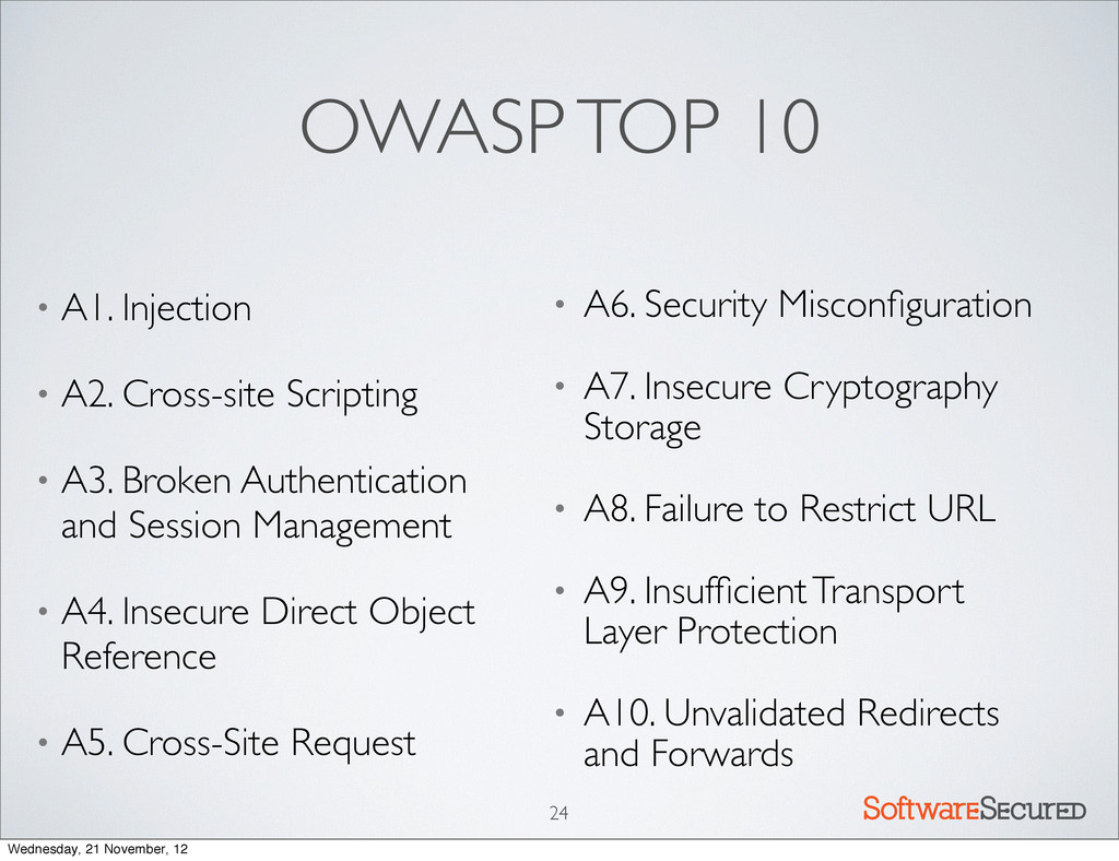 Softwar S cur OWASP TOP 10 • A1. Injection • A2...
