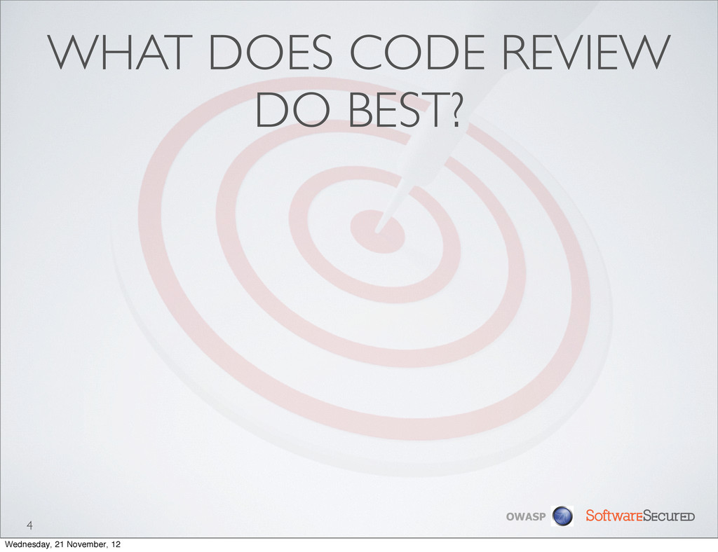 Softwar S cur OWASP WHAT DOES CODE REVIEW DO BE...