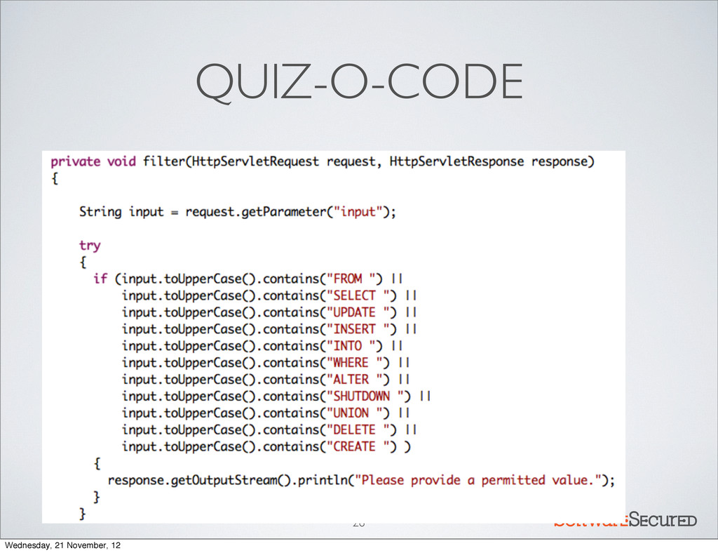 Softwar S cur QUIZ-O-CODE 26 Wednesday, 21 Nove...