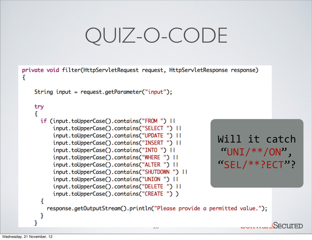 Softwar S cur QUIZ-O-CODE 26 Will	