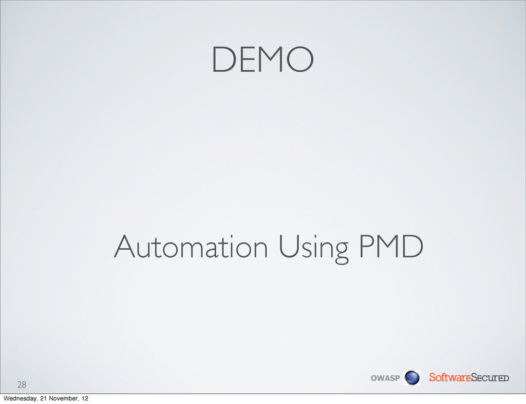 Softwar S cur OWASP DEMO Automation Using PMD 2...