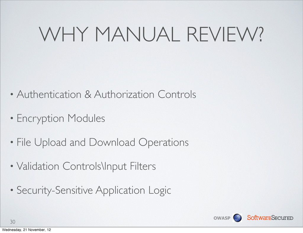 Softwar S cur OWASP WHY MANUAL REVIEW? • Authen...