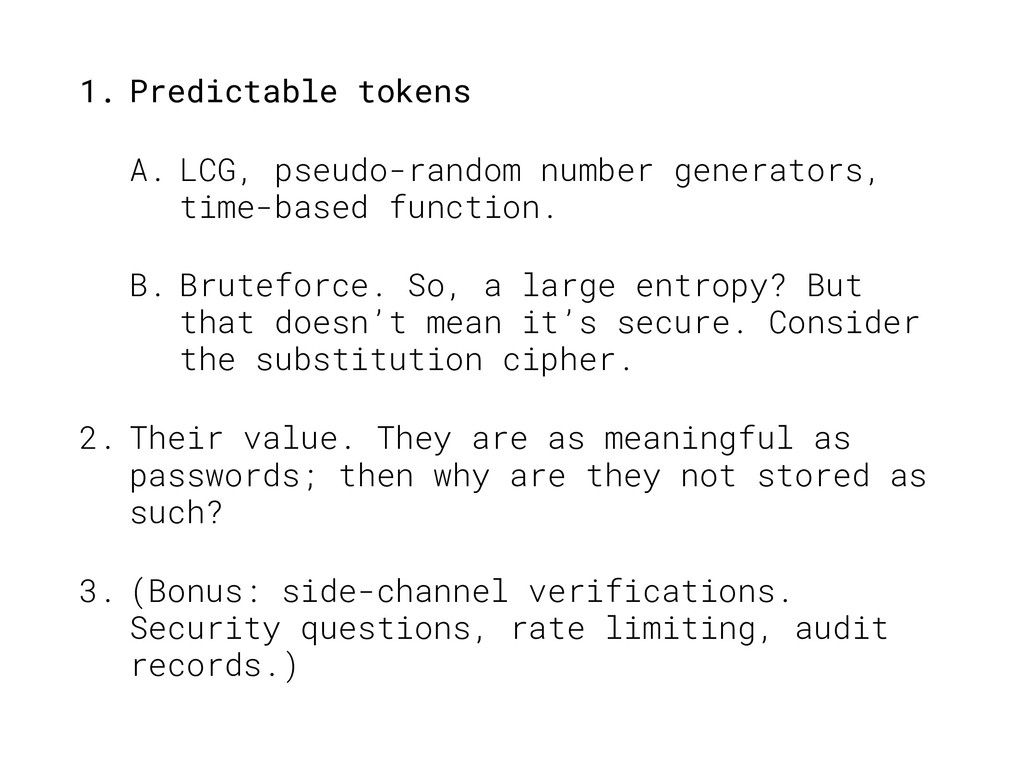 1. Predictable tokens A. LCG, pseudo-random num...