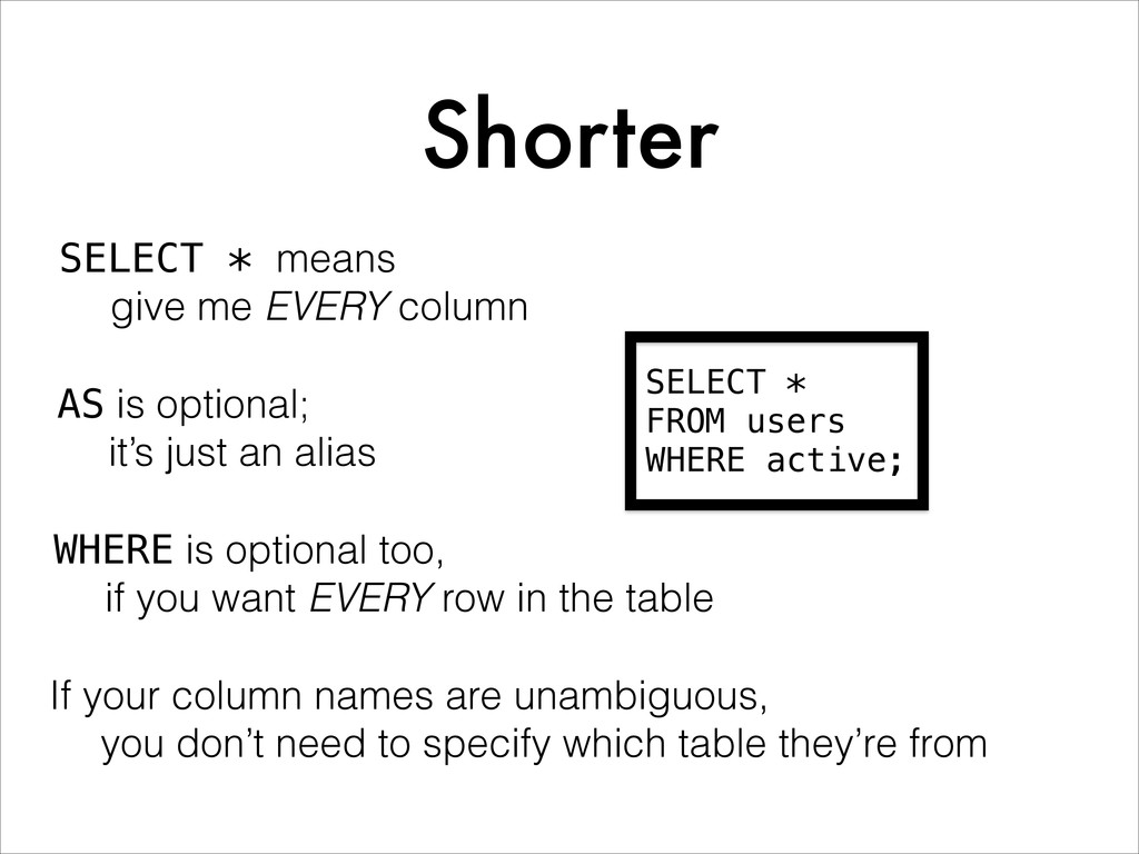 Shorter SELECT * FROM users WHERE active; SELEC...