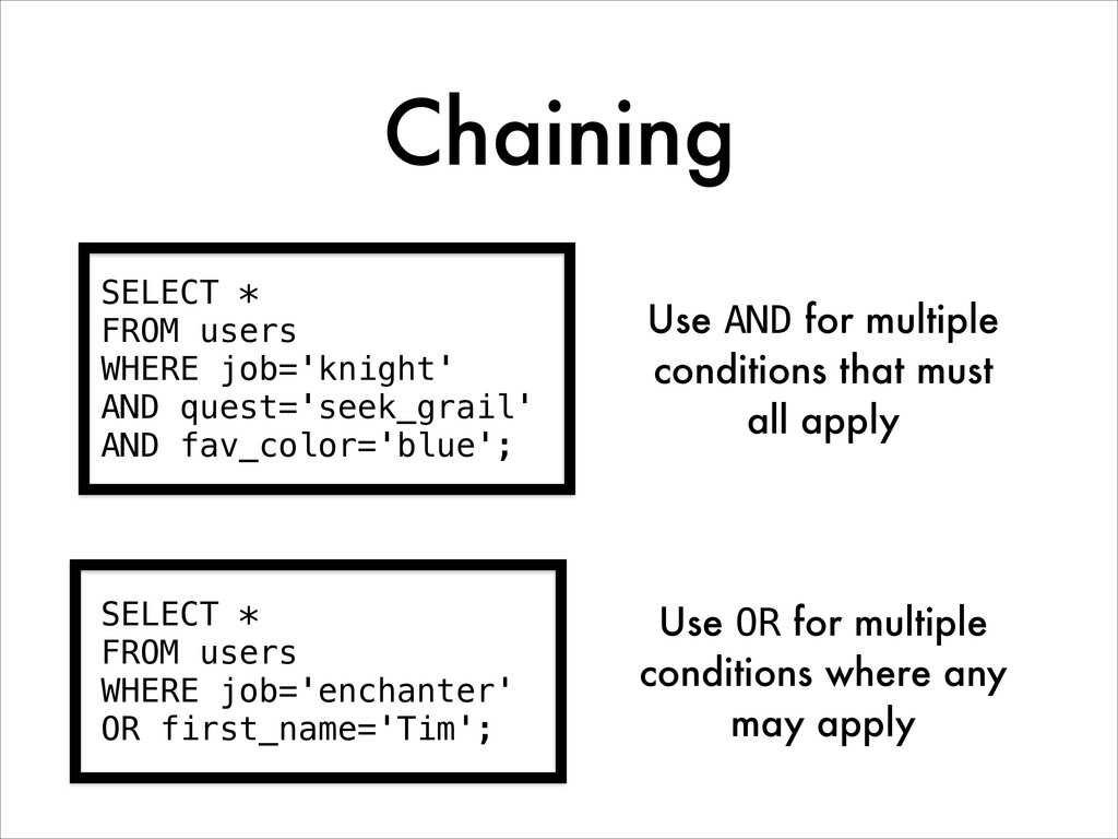Chaining SELECT * FROM users WHERE job='knight'...