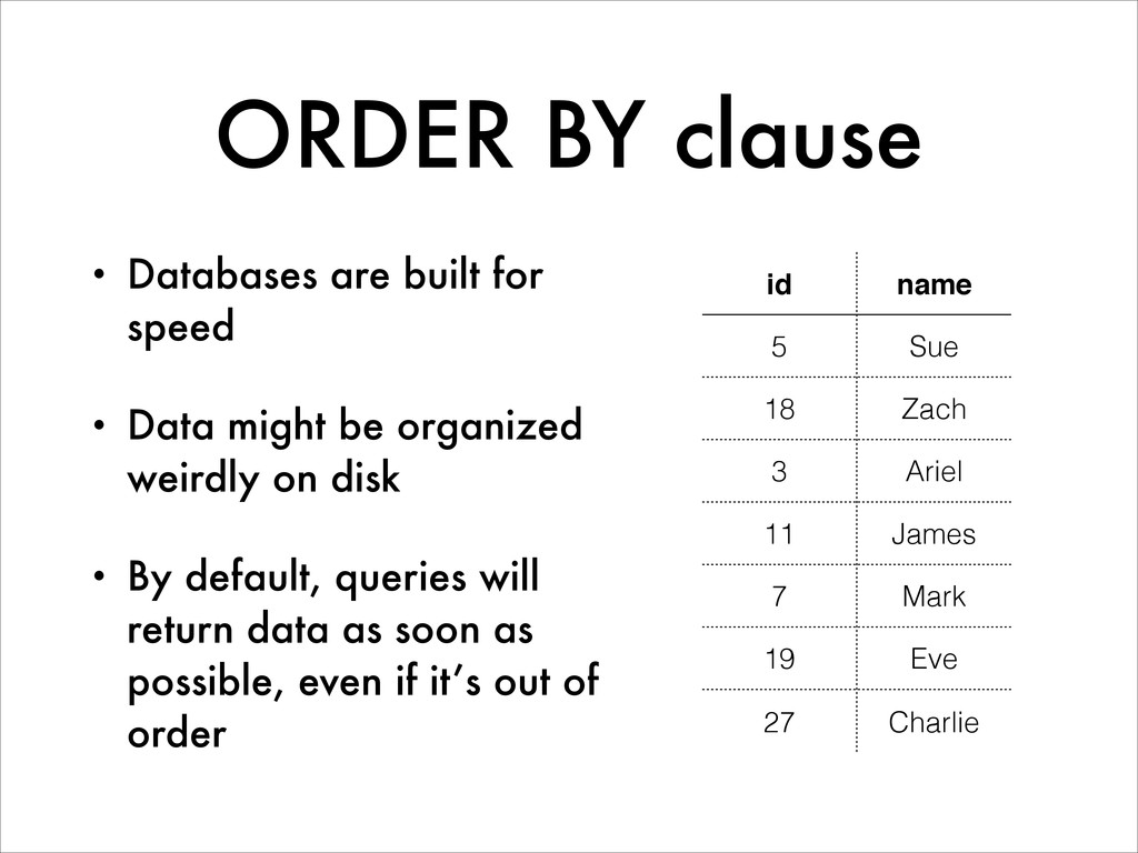 ORDER BY clause • Databases are built for speed...