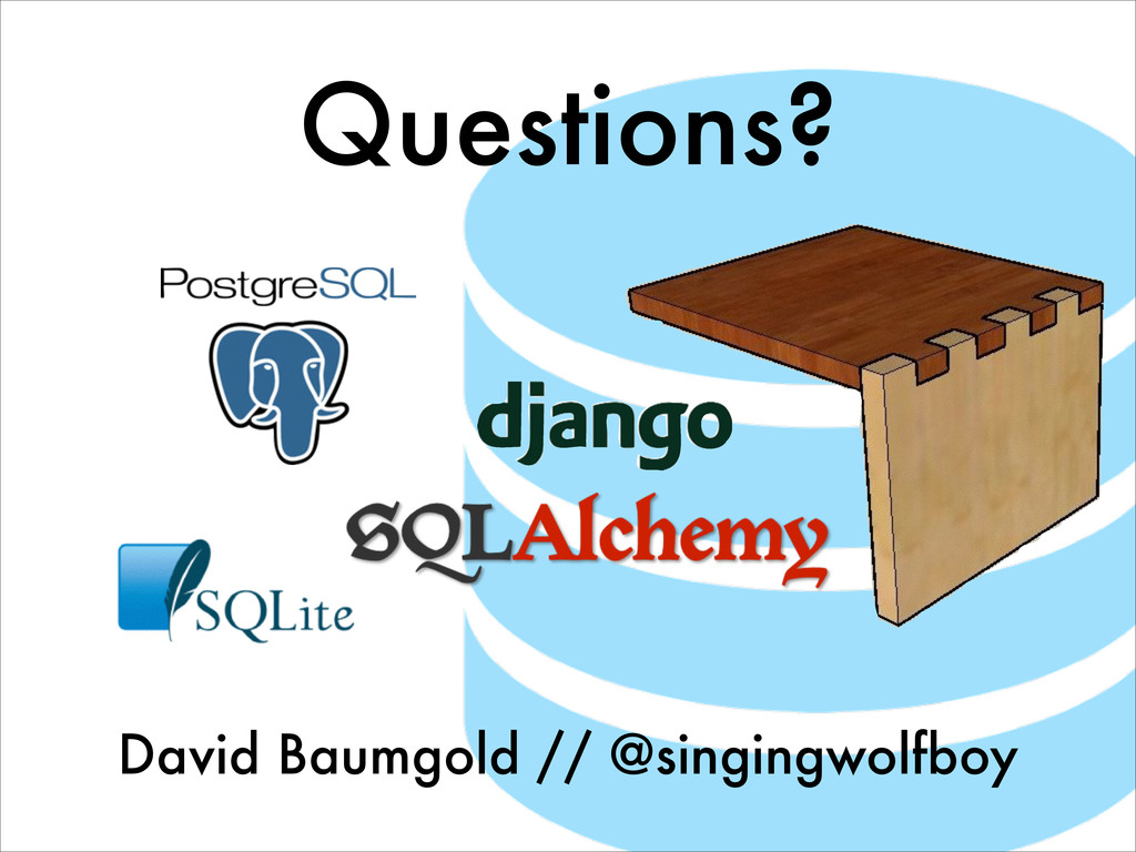 Questions? David Baumgold // @singingwolfboy