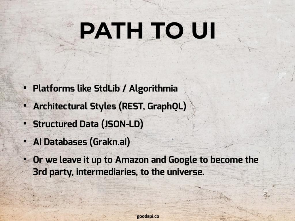 PATH TO UI • Platforms like StdLib / Algorithmi...