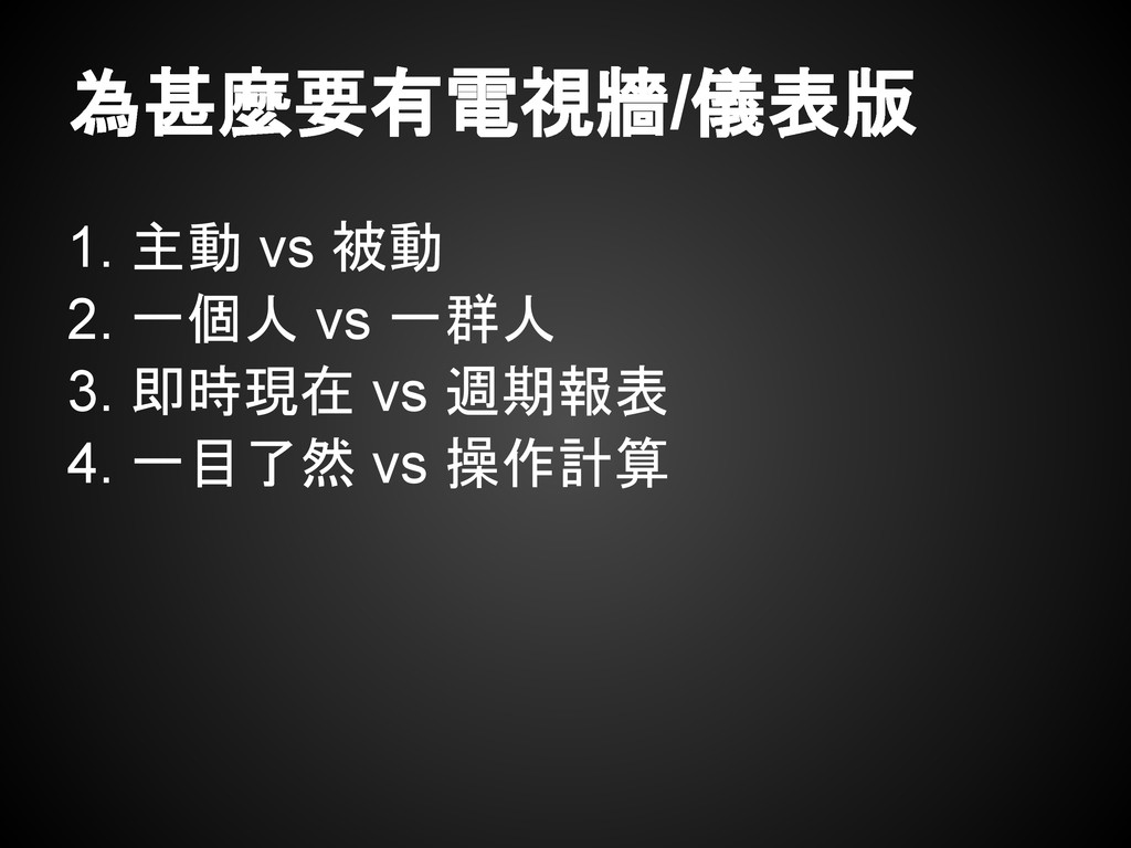 為甚麼要有電視牆/儀表版 1. 主動 vs 被動 2. 一個人 vs 一群人 3. 即時現在 ...