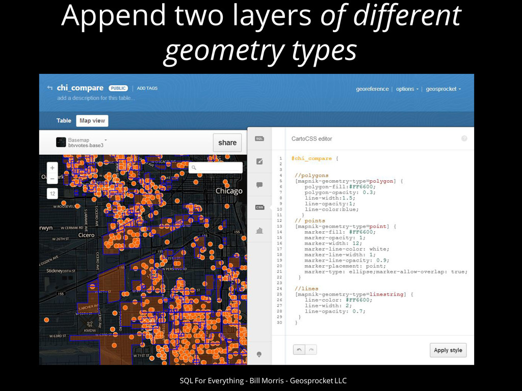 Append two layers of different geometry types S...