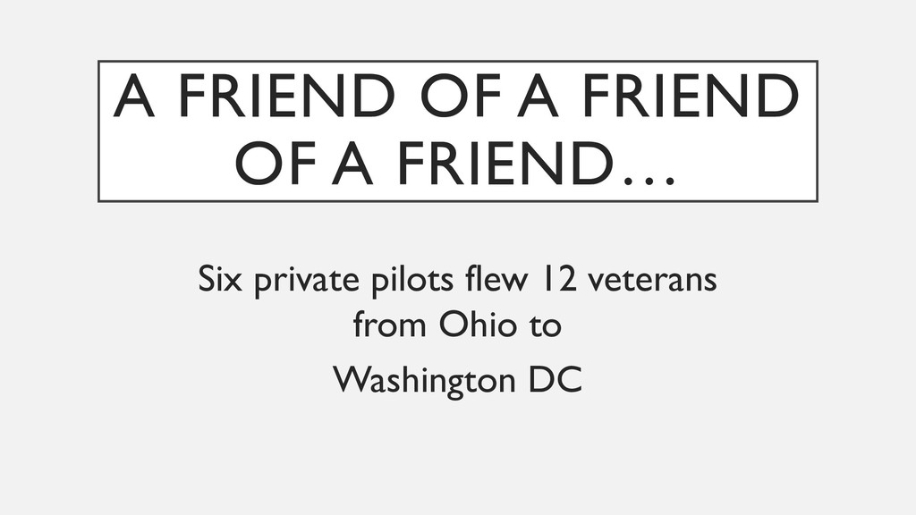 A FRIEND OF A FRIEND OF A FRIEND… Six private p...