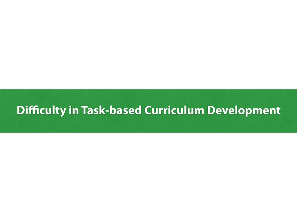 Difficulty in Task-based Curriculum Development