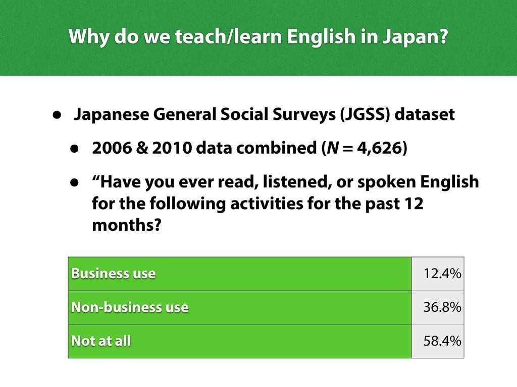 Why do we teach/learn English in Japan? • Japan...