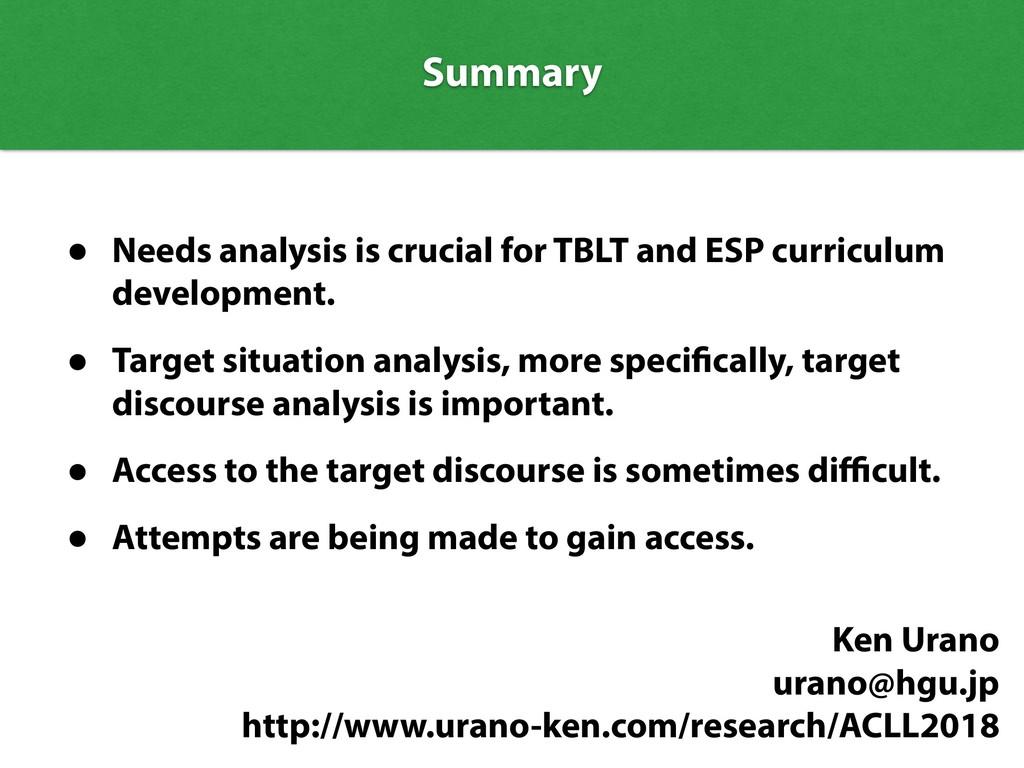Summary Summary • Needs analysis is crucial for...