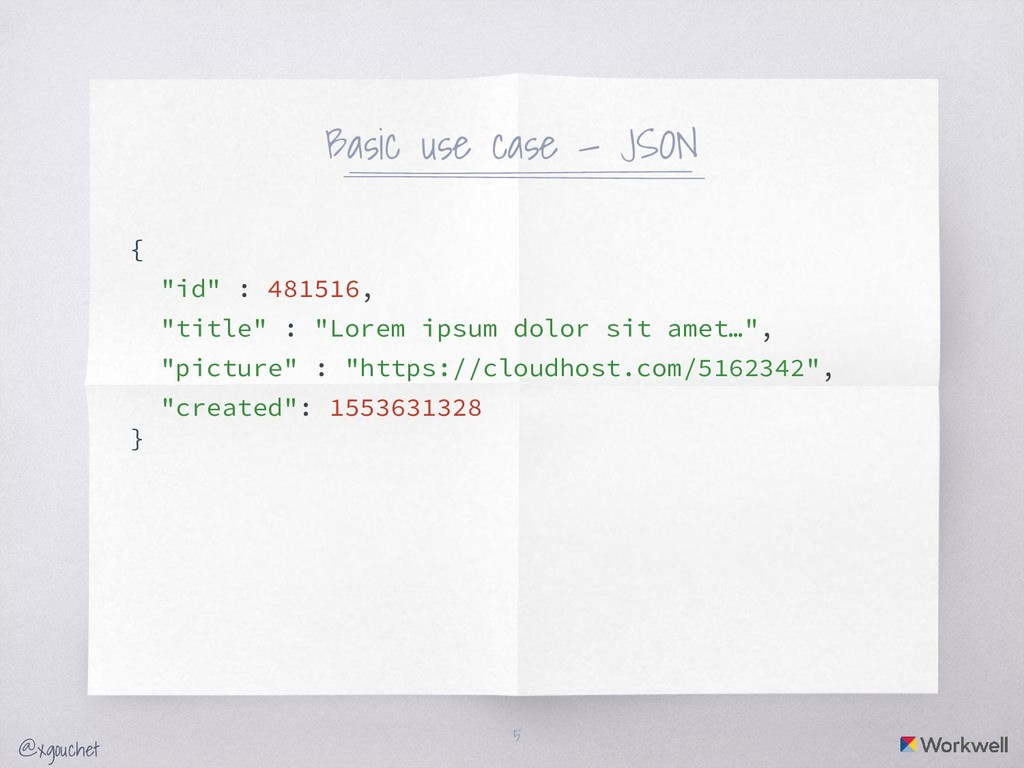 "@xgouchet Basic use case — JSON { ""id"" : 481516..."