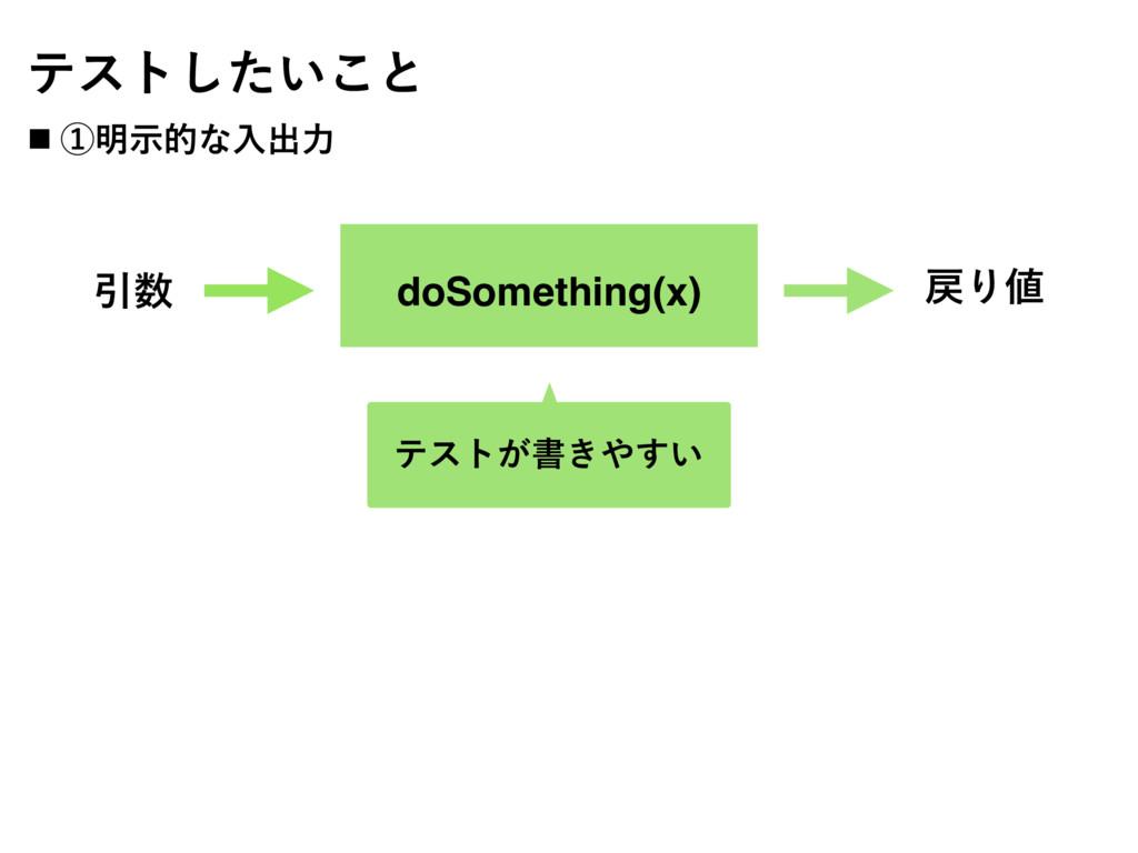 doSomething(x) Ҿ Γ ςετ͕ॻ͖͍͢ ςετ͍ͨ͜͠ͱ ˙ ᶃ໌ࣔత...
