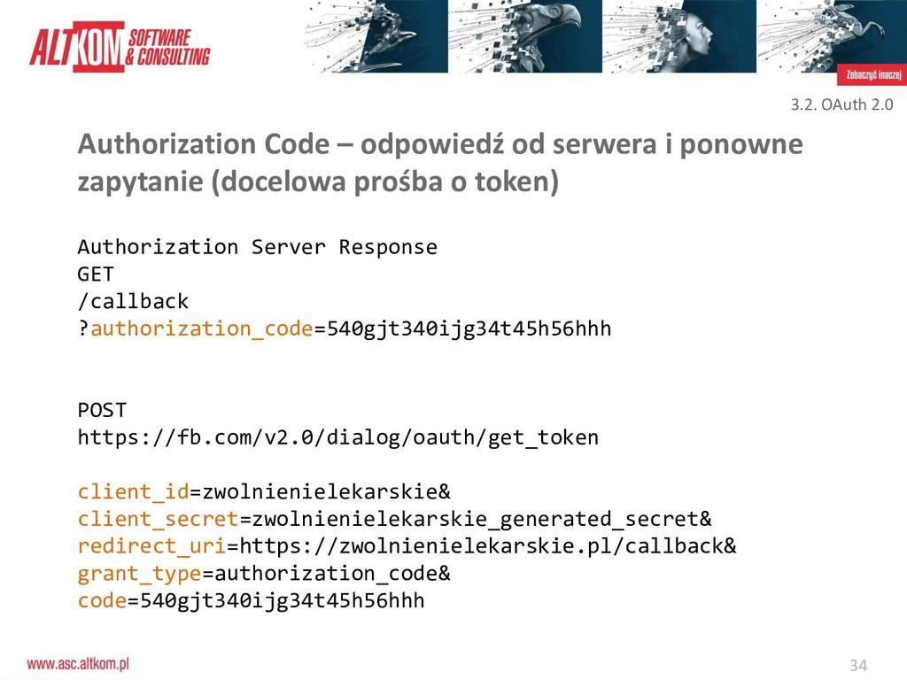 34 Authorization Code – odpowiedź od serwera i ...