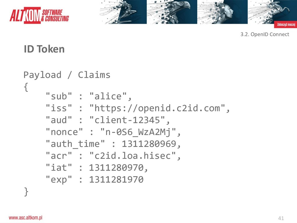 "41 ID Token Payload / Claims { ""sub"" : ""alice"",..."