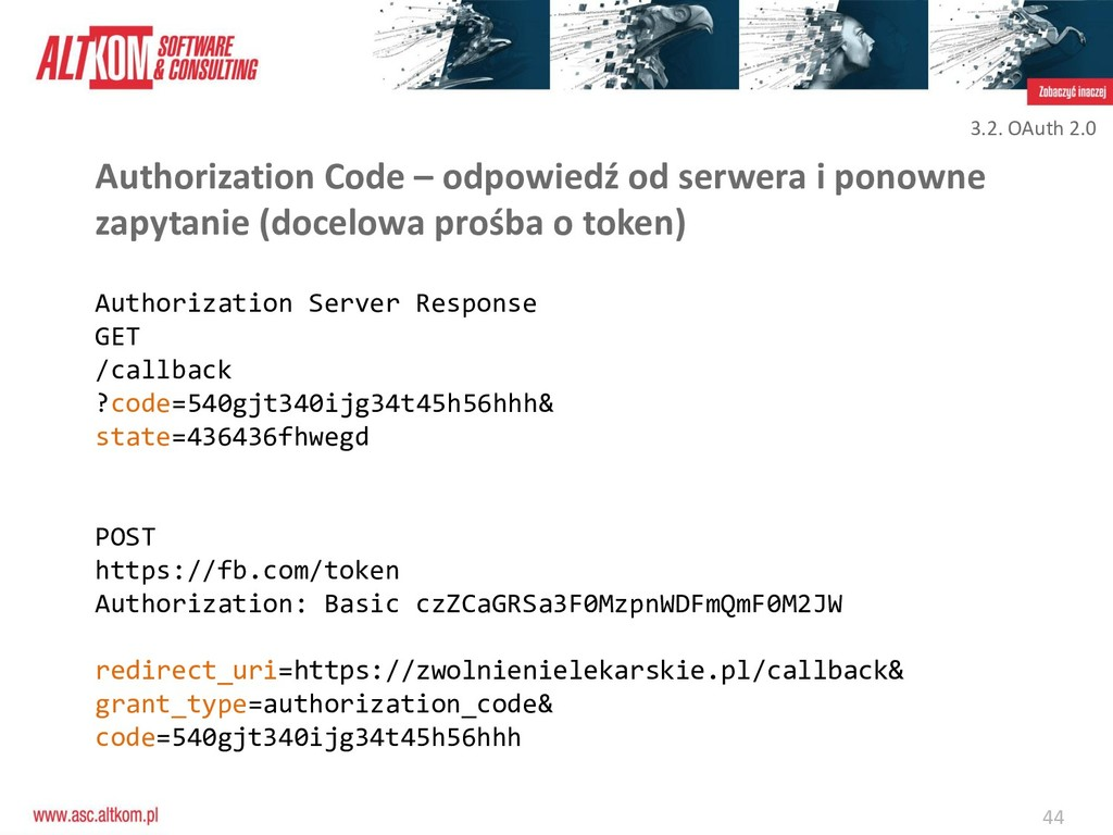 44 Authorization Code – odpowiedź od serwera i ...