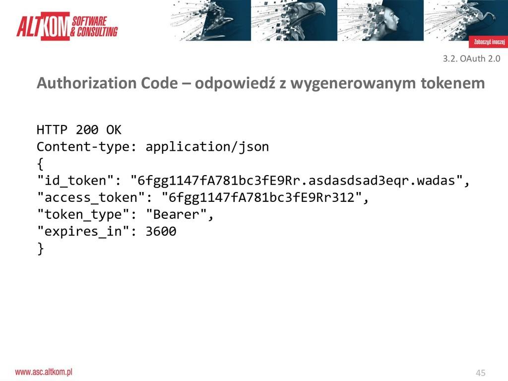 45 Authorization Code – odpowiedź z wygenerowan...