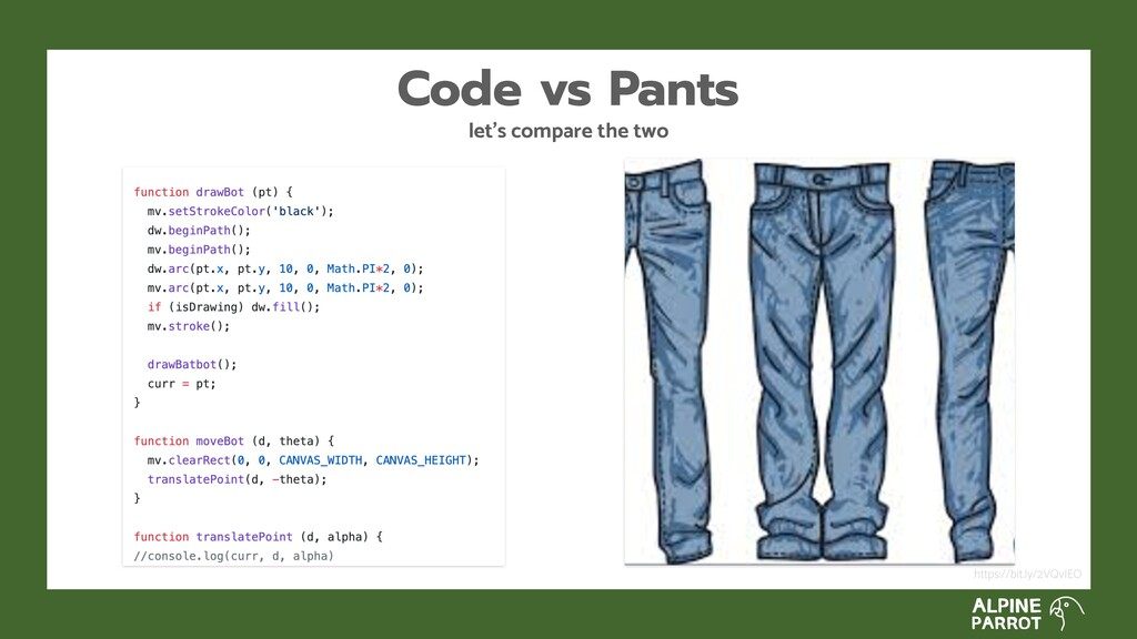 let's compare the two Code vs Pants https://bit...