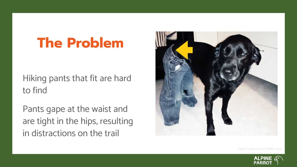 The Problem Hiking pants that fit are hard to f...