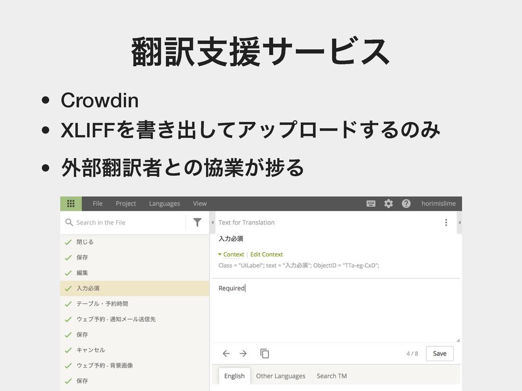 ༁ࢧԉαʔϏε • Crowdin • XLIFFΛॻ͖ग़ͯ͠Ξοϓϩʔυ͢ΔͷΈ • ֎෦...