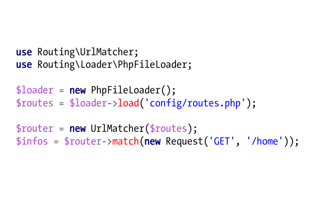 use Routing\UrlMatcher; use Routing\Loader\PhpF...