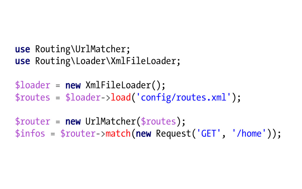 use Routing\UrlMatcher; use Routing\Loader\XmlF...