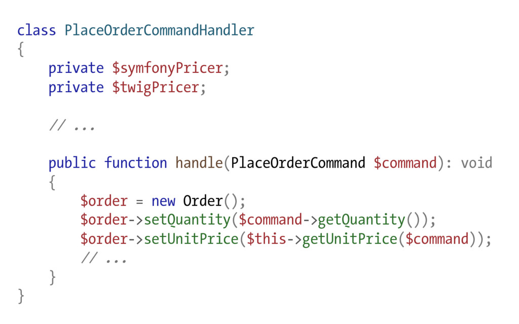 class PlaceOrderCommandHandler { private $symfo...