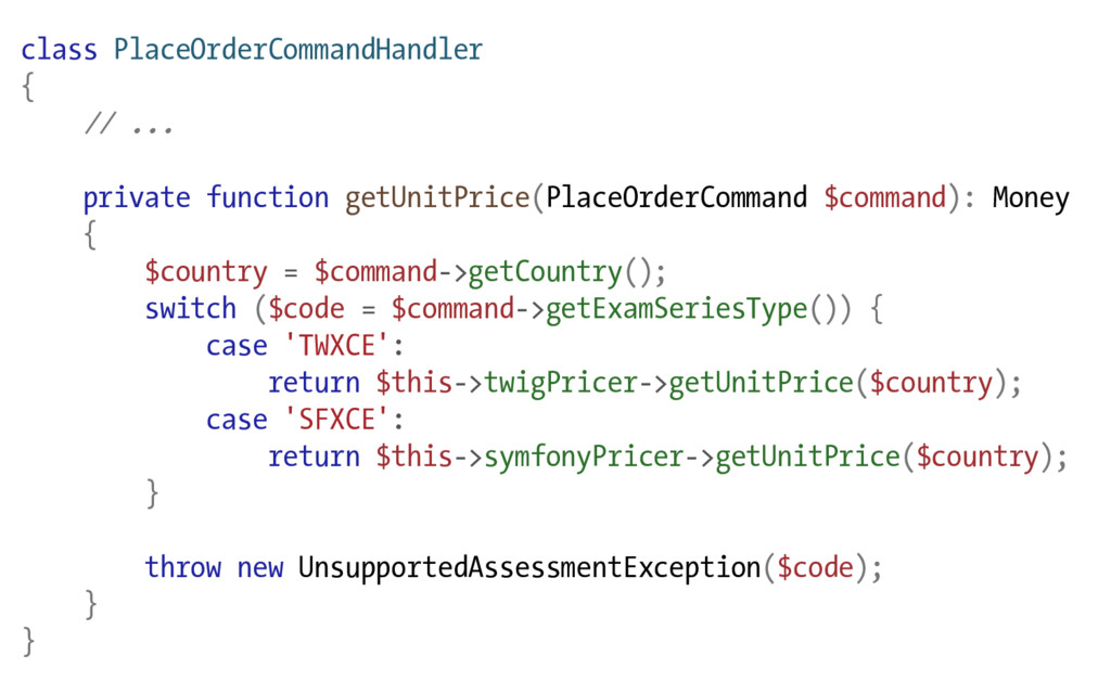 class PlaceOrderCommandHandler { // ... private...
