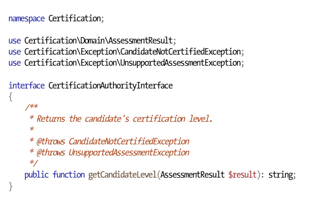 namespace Certification; use Certification\Doma...
