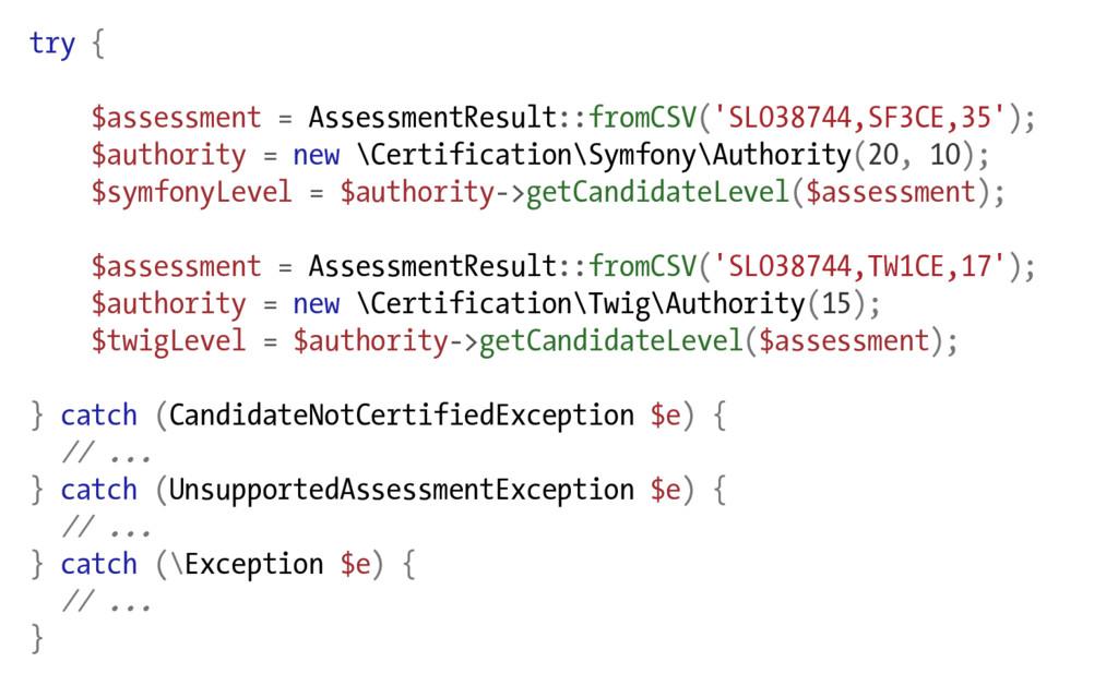 try { $assessment = AssessmentResult::fromCSV('...