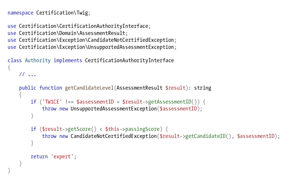 namespace Certification\Twig; use Certification...